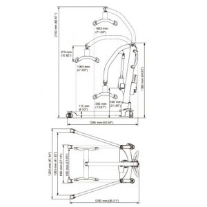 Molift Mover 205 mobile hoist dimensions