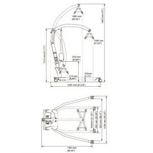 Molift Smart 150 Hoist Dimensions