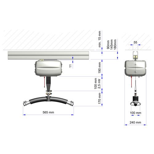 OT200 ceiling hoist sysem dimensions