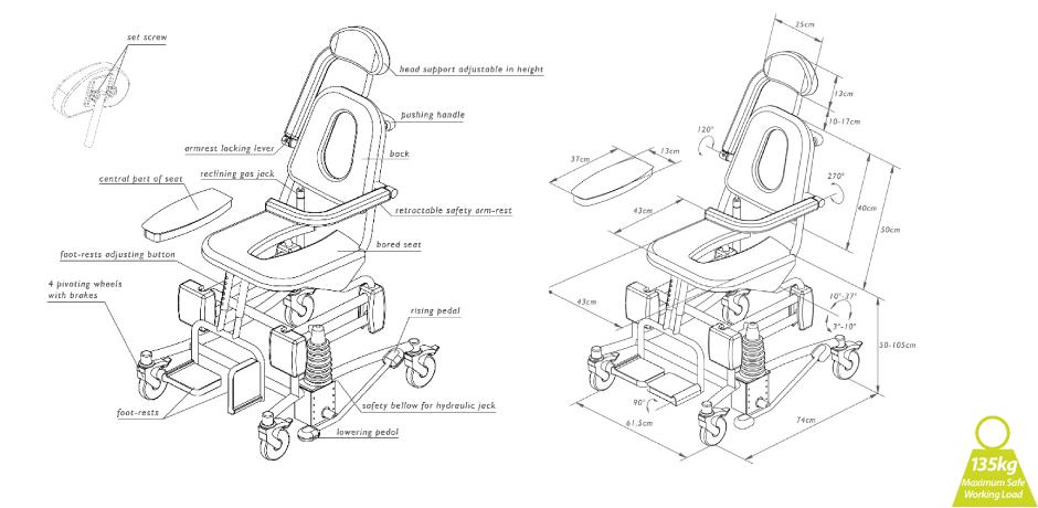 soflex shower chair diagram