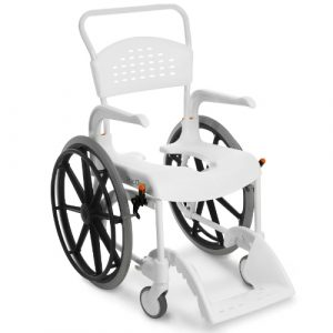 "Etac Clean 24"" self propelled shower commode chair white"