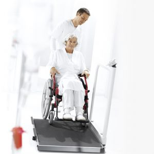 seca 677 wireless wheelchair scales in use
